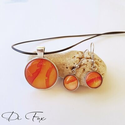 Tangerine Orange pendant necklace and earring set