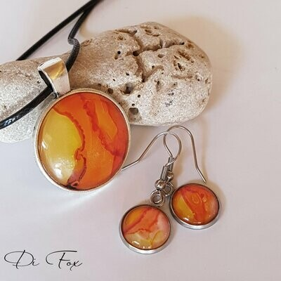 Yellow and Orange pendant necklace and earring set