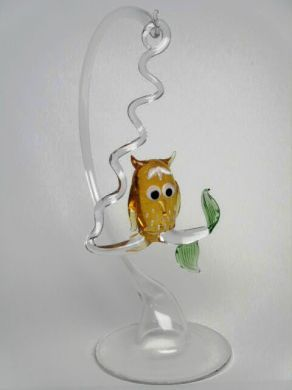 Glass Owl and Stand