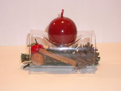 Glass Log Candle Holder - Red