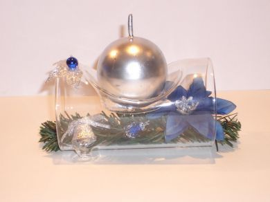 Glass Log Candle Holder - Silver
