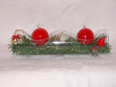 Glass Log Double Candle Holder - Red