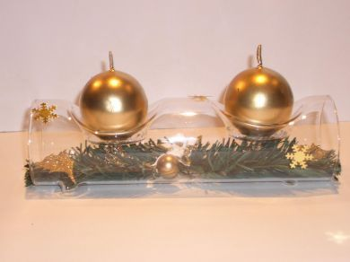 Glass Log Double Candle Holder - Gold