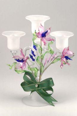 Triple Floral Candlestick