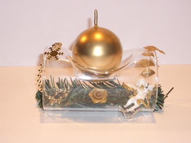 Glass Log Candle Holder - Gold