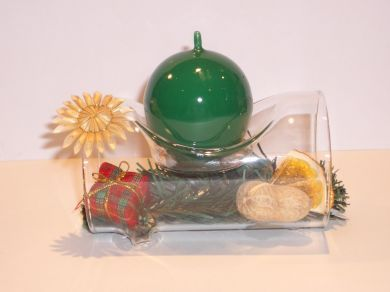 Glass Log Candle Holder - Green