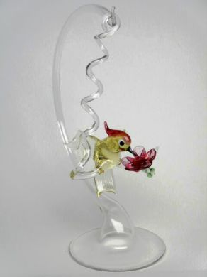 Glass Hummingbird and Stand