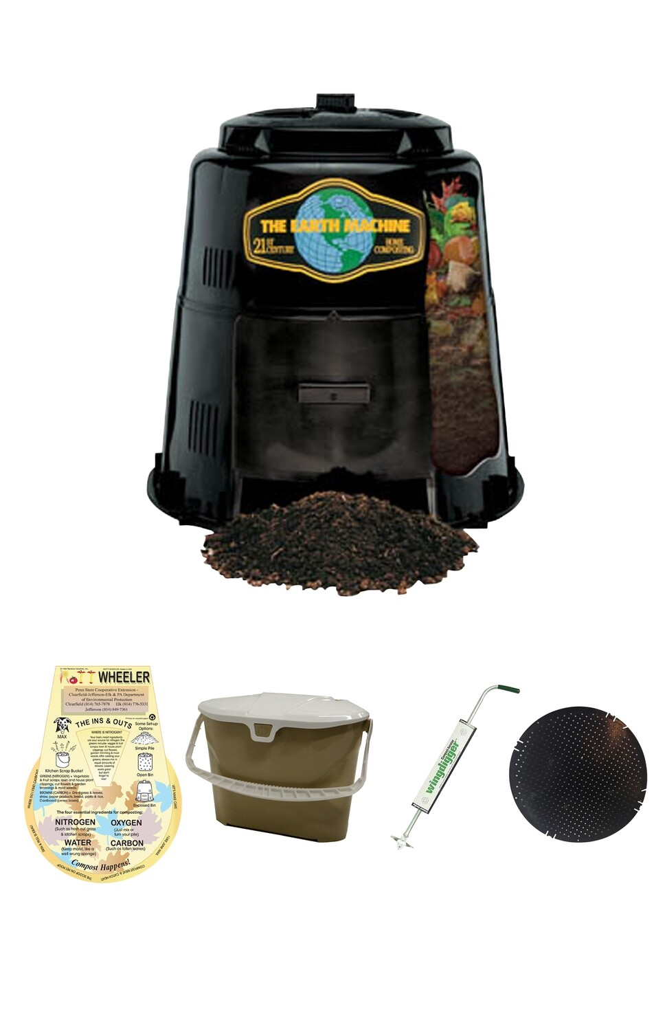 KIT 4 - Best Value: Includes the Earth Machine, Rottwheeler, Kitchen Collector, Wingdigger & Rodent Screen