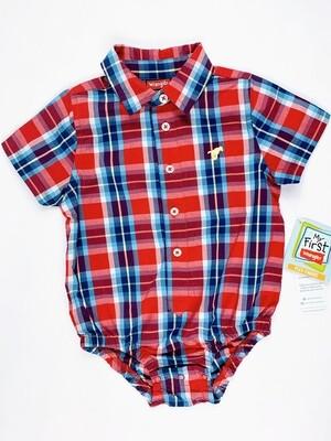 Blue Red Plaid Wrangler Button Up Onesie Shirt, 24M