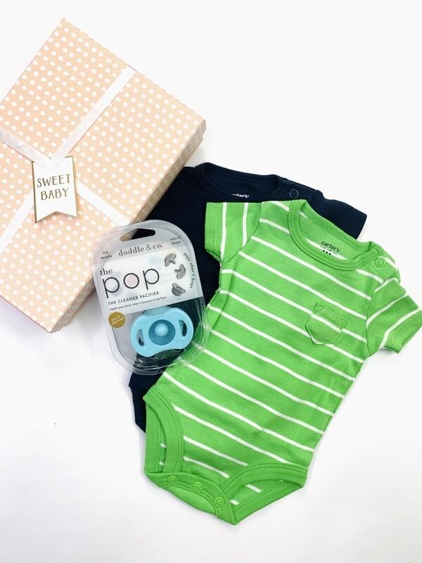 Navy Green Light Blue Baby Gift Box Set, NB