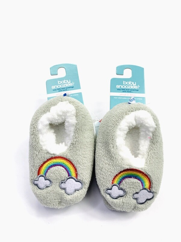 Grey Rainbows Baby Snoozies! Bootie Slippers, 0-3M