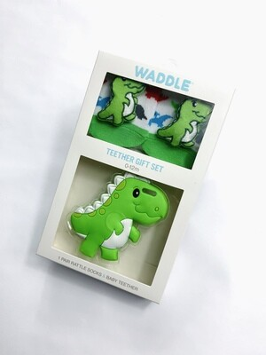 Waddle Dino Rattle Socks & Teether Set