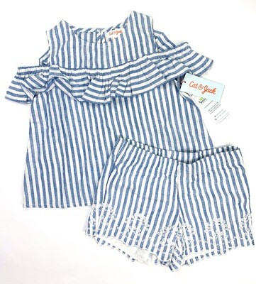 New Blue White Stripes 2pc Cat & Jack Shorts Outfit Set, 4/5.