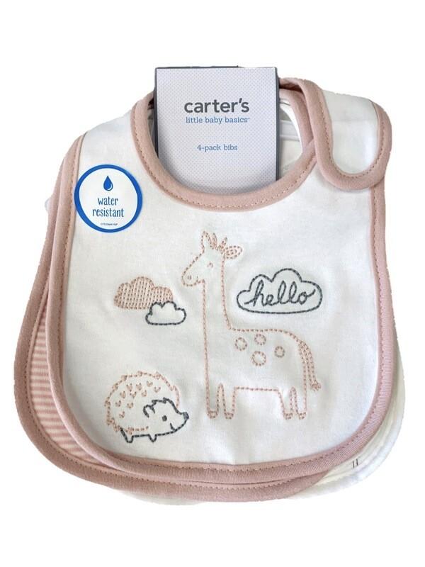 New Coral White Giraffe Porcupine Carter's 4Pc Bib Set