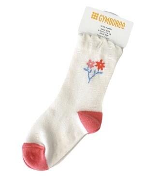 Coral Flower Gymboree Socks, 12/24M
