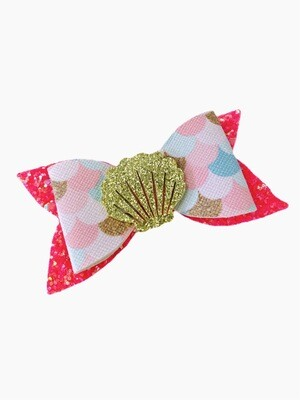 Gold Shell Mermaid Print Feltie Accent Faux Leather Hair Bow