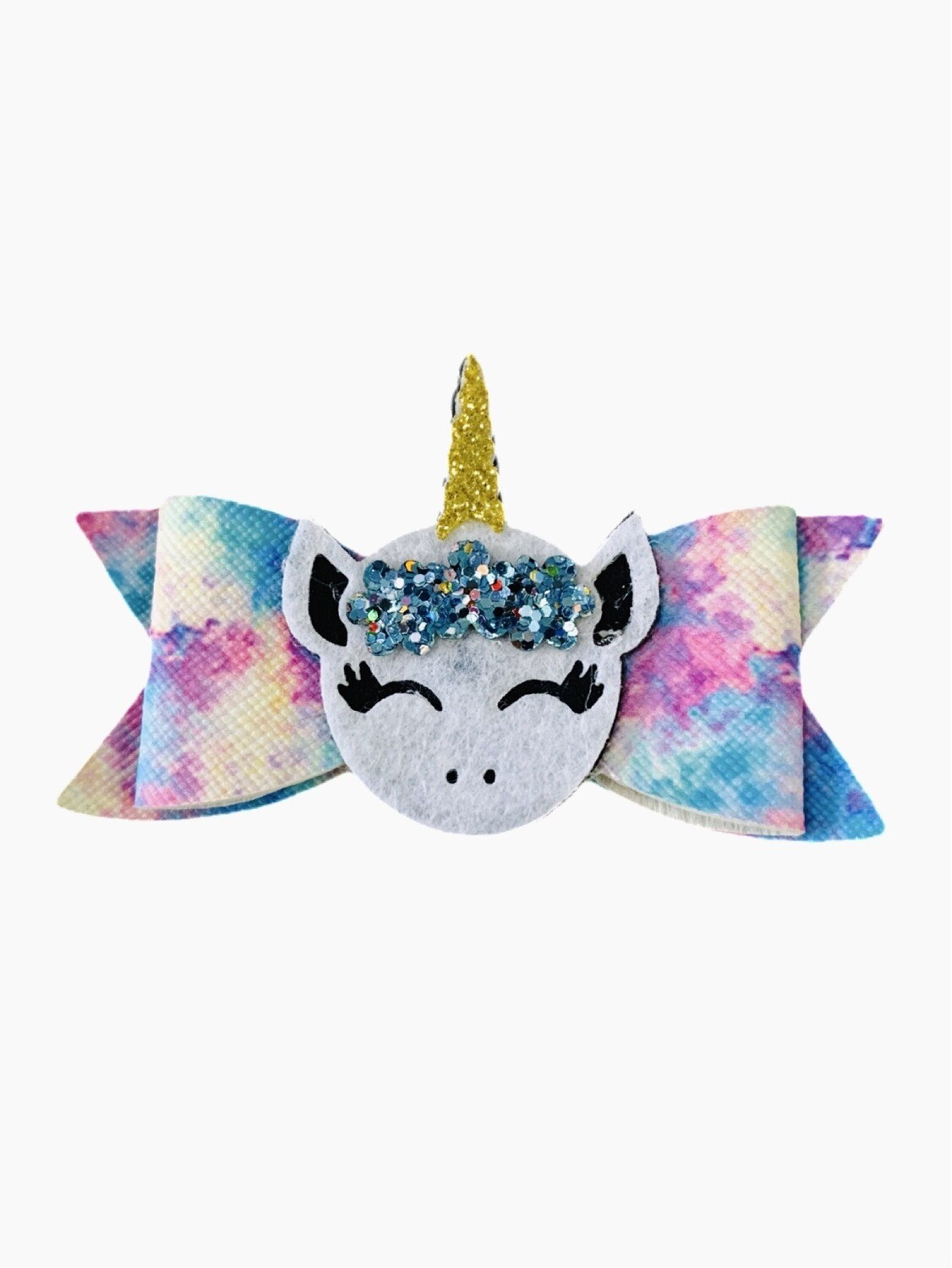 Rainbow Leather White Unicorn Feltie Accent Faux Leather Hair Bow