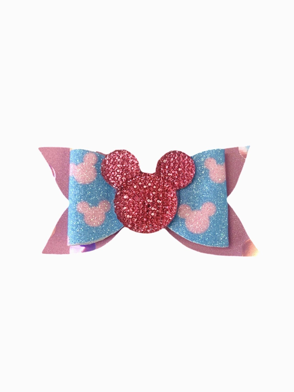 Pink Minnie Mouse Feltie Accent Faux Leather Hair Bow