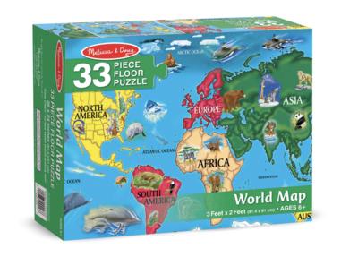 World Map Melissa & Doug 33Pc Floor Puzzle
