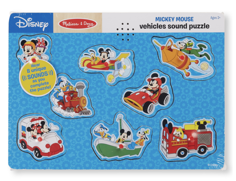 Mickey Mouse & Friends Vehicles Wooden Sound Melissa & Doug Puzzle