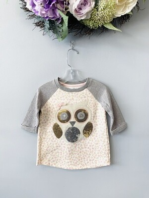 New Pink Gold Cheetah Sequence Owl Mud Pie Shirt, 2/3T