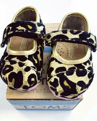 New Gold Leopard Glitter Mary Jane Toms Shoes, 3