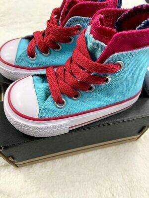Sky Blue Hot Pink Converse Hightop Sneakers, 3