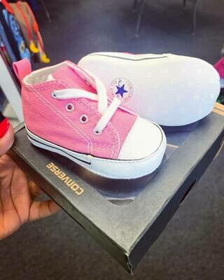 New Bubblegum Pink Converse Crib Shoes, 2