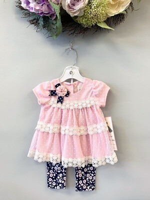 New Light Pink Navy Polka Dots & Lace Rare Editions Outfit Set, 12M