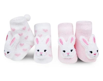 Waddle Bunny Rattle Socks, 0/12M