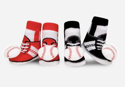 Waddle Baseball Rattle Socks, 0/12M
