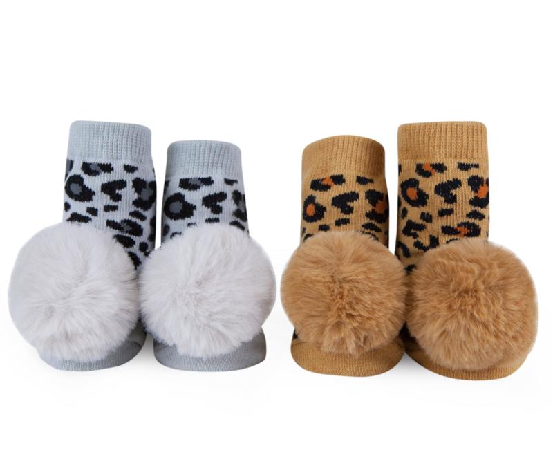 Waddle Leopard Rattle Socks, 0/12M