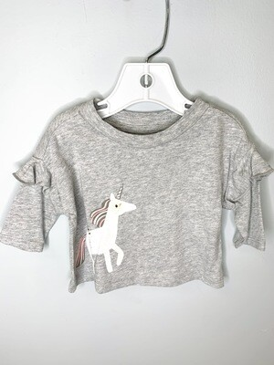 New White Unicorn Grey Gymboree Shirt, 0/3M