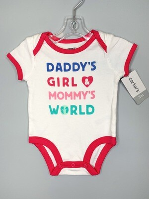 New Daddy's Girl & Mommy's World Carter's Onesie, 3M