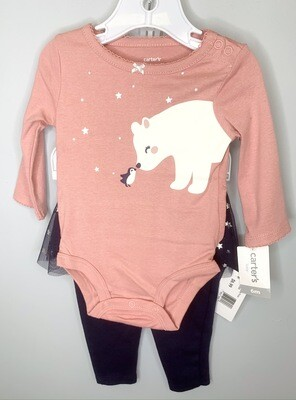New Coral Polar Bear Penguin Carter's Outfit Set, 6M