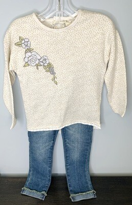 New Gold Grey Embroidered Flowers Gold Dots Jessica Simpson Outfit Set, 3T