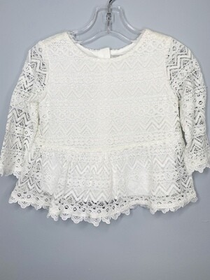 New White Lace Long Sleeve Kardashian Kids Shirt, 18M