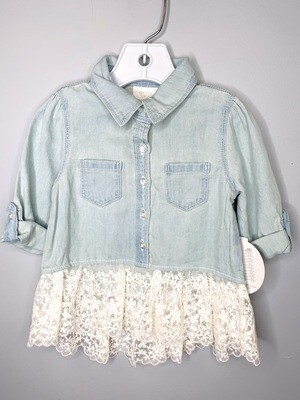 New Light Jean Lace Bottom Koala Kids Shirt, 12/18M