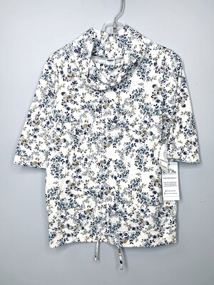 New Blue Mustard Floral Print Mock-neck Old Navy Shirt, 5T