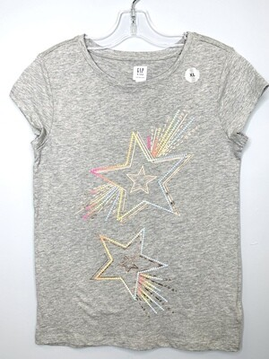 New Light Grey Rainbow Sequence Star Gap Kids Shirt, 12