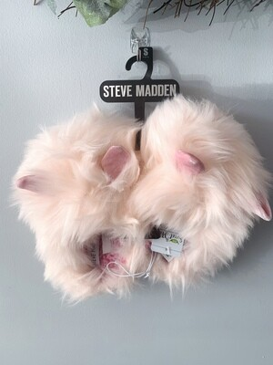 New Pink Furry Pink Ear Steve Madden Slippers, Big Kids 13/1