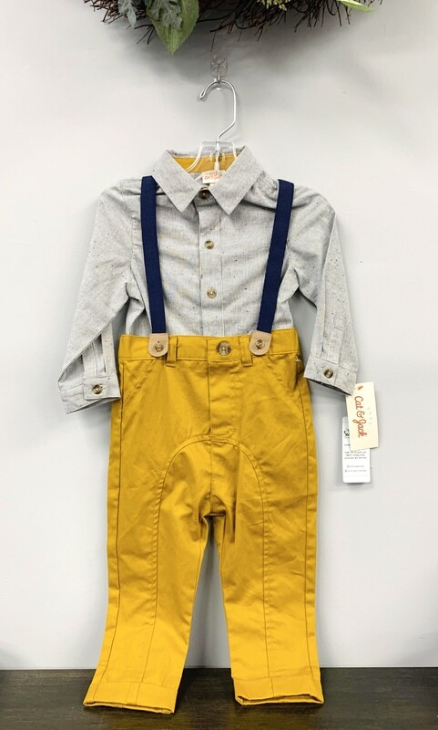 New Mustard Yellow Pants Button Up Overalls Cat & Jack Outfit Set, 18M