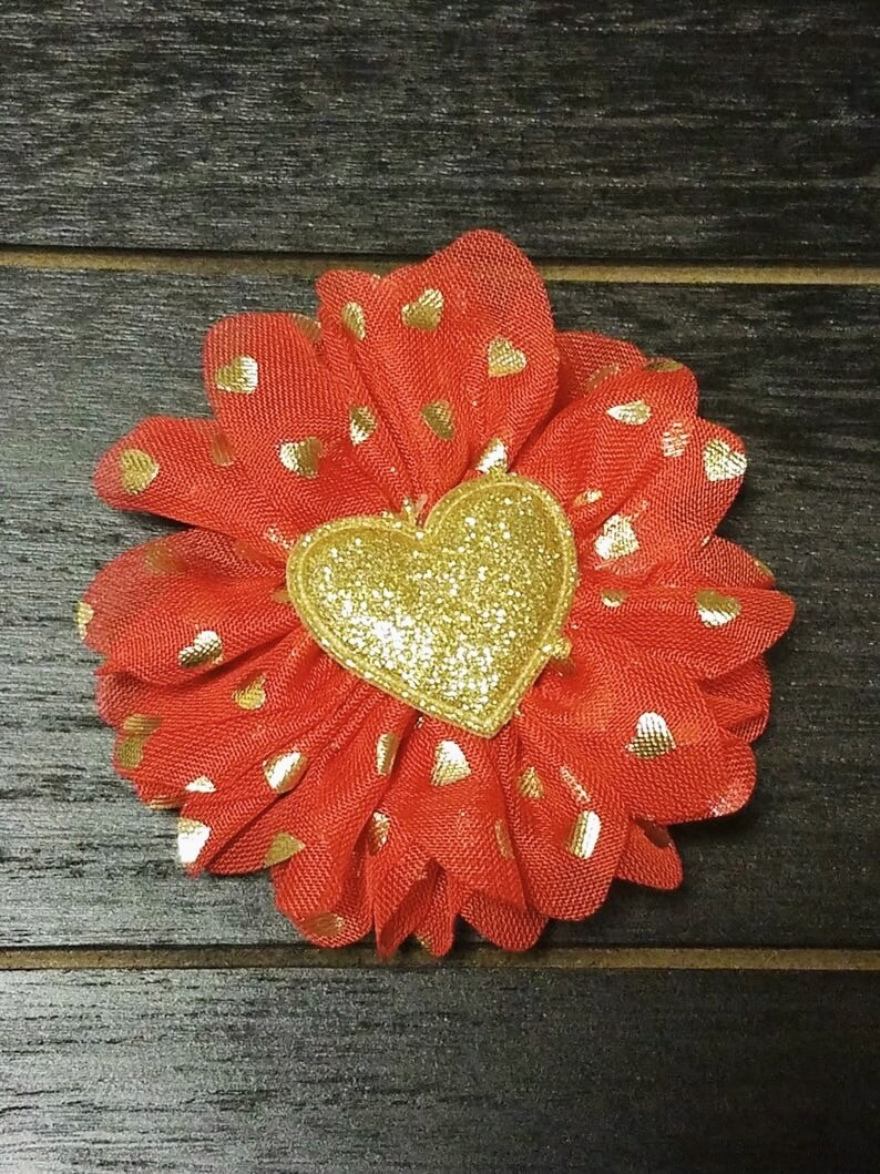 Red Gold Hearts Valentine's Day Circle Bows
