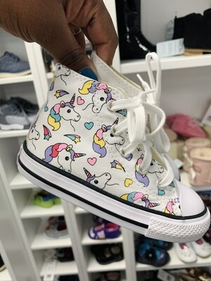 New White Unicorn Rainbows Converse All Star Sneaker, 7