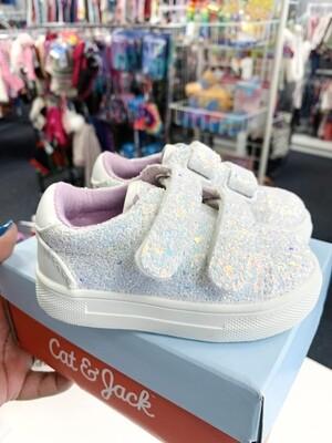New White Glitter Kaedence Velcro Cat & Jack Sneakers, 5