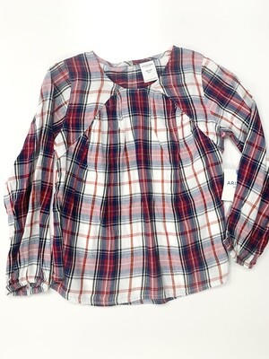 New Red White Blue Plaid Arizona Babydoll Shirt, 4/5