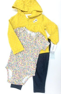New Mustard Floral Carter's 3pc Outfit Set, 18M