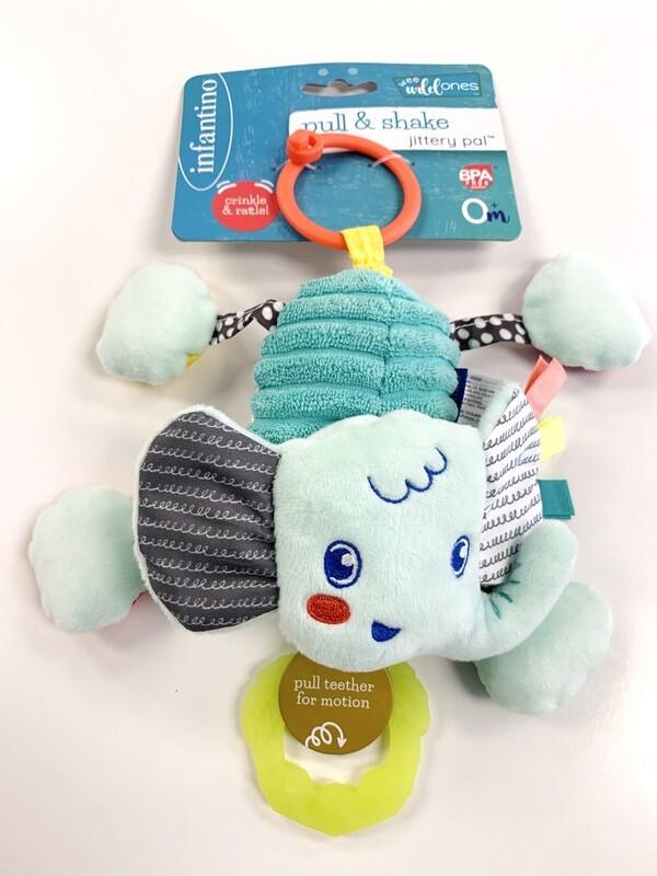 New Pull & Shake Jitter Pal Elephant Infantino Toy