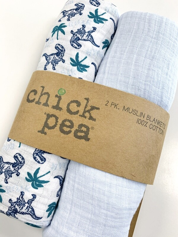 New Dinos Palm Trees Chick Pea 2 Pack Muslin Blankets