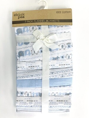New Blue Grey Elephants Chick Pea 7 Pack Flannel Blankets